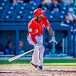 28 February 2017: Washington Nationals outfielder Michael Taylor watches the trajectory of his walk-off, game winning home run in the 9th inning of the inaugural game against the Houston Astros at the Ballpark of the Palm Beaches in West Palm Beach, Florida. Mandatory Credit: Ed Wolfstein Photo *** RAW (NEF) Image File Available ***