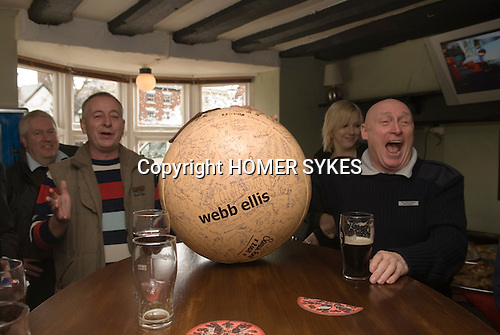 Shrove Tuesday Football. Atherstone Warwickshire UK 2008. Committee members at The Angel Inn with signed football before the start of the annual game.