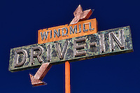 Windmill Drive Inn Sign - Kingsburg, CA - Highway 99 - HDR