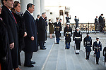 Congressional majority leader John Boehner watches the review of troops outside the US Capitol during the inauguration, January 21, 2013 in Washington, D.C.