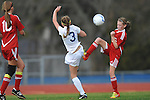 Oxford High vs. Lafayette High's Halle Moore (15) in girls high school soccer in Oxford, Miss. on Saturday, December 8, 2012. Oxford won 1-0.