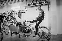 When a sceduled long training ride is cut short by snow/cold/rain Jasper Stuyven (BEL/Trek-Segafredo) &amp; John Degenkolb (DEU/Trek-Segafredo) complete their hours of training on the rollers in the basement of the team hotel<br /> <br /> Team Trek-Segafredo winter training camp <br /> <br /> january 2017, Mallorca/Spain