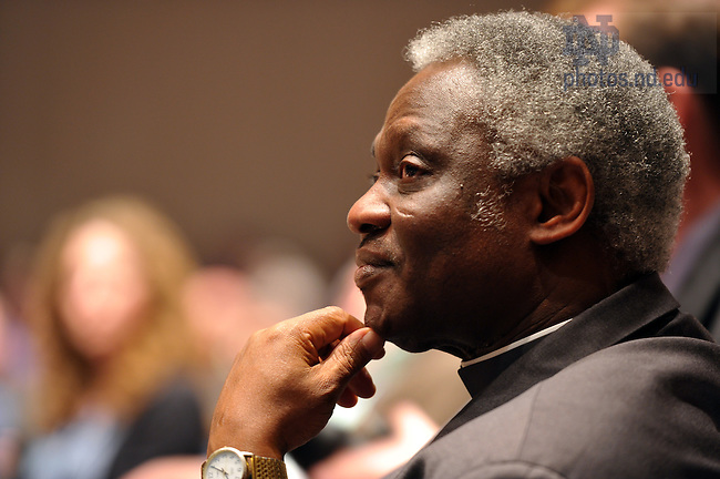 Mar. 25, 2011; Cardinal Peter Kodwo Appiah Turkson, President of the Pontifical Council for Justice and Peace listens as he is introduced at the 2011 Romero Lecture...Photo by Matt Cashore/University of Notre Dame