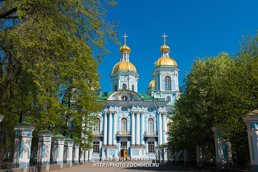 Facade Of St. Nicholas Naval Cathedral in St. Petersburg, Russia