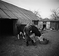 Chernobyl, Ukraine, Ocober 1995..The explosion at the Chernobyl Nuclear Power Plant on April 26 1986 was the worst nuclear accident in history..Like many older residents Maria Kirilenko has returned to live illegally in her home in the closed and radioactive zone surrounding Chernobyl.