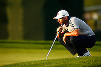 Sergio Garcia lines up his putt on the 11th green during the 2016 U.S. Open in Oakmont, Pennsylvania on June 18, 2016. (Photo by Jared Wickerham / DKPS)