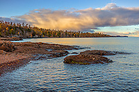 Gooseberry Falls State Park, MN: Evening clouds over Lake Superior shoreline in fall