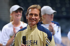 Dec. 5, 2010; Women's Soccer head coach Randy Waldrum smiles during a welcome home ceremony for the National Champion Women's Soccer team at the Purcell Pavilion...Photo by Matt Cashore/University of Notre Dame
