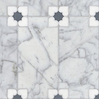 Marion, a stone water jet mosaic, shown in Carrara, Thassos, and Bardiglio, is part of the Ann Sacks Beau Monde collection sold exclusively at www.annsacks.com