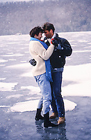 couple dancing on a frozen lake