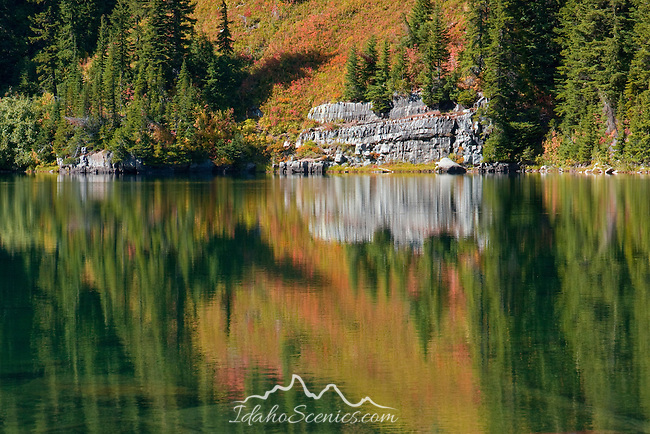 Scenic Revett Lake in the Coeur D Alene National Forest is accessed by foot on trail #9 on Thompson Pass, Idaho, USA