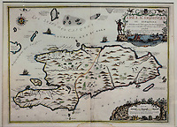 Map of the Island of Santo Domingo in the West Indies, engraving with watercolour, published 1723, by Nicolas de Fer, 1646-1720, in the Chatillon collection, in the Musee d'Aquitaine, Cours Pasteur, Bordeaux, Aquitaine, France. Picture by Manuel Cohen