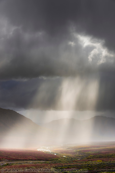 Sun rays beam through dark clouds during a rain squall over the Plains of Murie and the Alaska range mountains, Denali National Park, interior, Alaska.