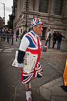 Royal subject - 2011<br /> <br /> London, 28/04/2011. Hundreds of thousands of people gathered in central London the day before the Royal Wedding between Prince William and Kate Middleton. These pictures have been taken in Parliament Square, outside Westminster Abbey, and along the Mall.
