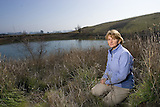 Pam Matson, Stanford Earth Sciences Dean at OSR ranch, Napa, California. She is conducting water sampling for later analysis.