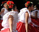The Hispanic Parade in New York City. Girls dancing and representing Colombia in the Hispanic Parade in New York City.