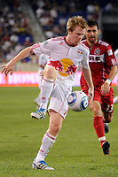 Dax McCarty (11) of the New York Red Bulls plays the ball. The New York Red Bulls and the Chicago Fire played to a 2-2 tie during a Major League Soccer (MLS) match at Red Bull Arena in Harrison, NJ, on August 13, 2011.