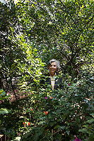 Renowned Mexican author Elena Poniatowska in the garden of her house.  Chimalistac, Mexico City