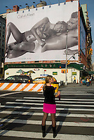 A Calvin Klein billboard in the Soho neighborhood of New York on Monday, November 9, 2009 features the actress Eva Mendes.  Klein's advertisements use sex and provocative images to test society's cultural and moral boundries. (© Richard B. Levine)