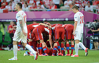 FUSSBALL  EUROPAMEISTERSCHAFT 2012   VORRUNDE Tschechien - Polen               16.06.2012 1:0 Jubel der tschechischen Nationalmannscht. Marcin Wasilewski (li) und Lukasz Piszczek (re, beide Polen) sind enttaeuscht