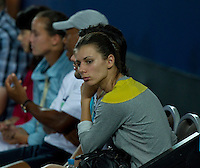 TSVETANA PIRONKOVA watching LLEYTON HEWITT (ESP) against FERNANDO VERDASCO (ESP) in the group stage of the Hopman Cup. Spain beat Australia 6-3 3-6 7-5..01/01/2012, 1st January 2012, 01.01.2012..The HOPMAN CUP, Burswood Dome, Perth, Western Australia, Australia.@AMN IMAGES, Frey, Advantage Media Network, 30, Cleveland Street, London, W1T 4JD .Tel - +44 208 947 0100..email - mfrey@advantagemedianet.com..www.amnimages.photoshelter.com.