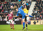 Hearts v St Johnstone...29.01.11  .Stevie May challneges keeper Marian Kello.Picture by Graeme Hart..Copyright Perthshire Picture Agency.Tel: 01738 623350  Mobile: 07990 594431