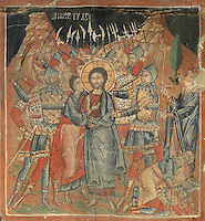 Fresco of Christ being arrested before his crucifixion, painted c. 1649, in the Church of Saints Constantine and Helen, built 1644, inside Berat Castle or Kalaja e Beratit, in Berat, South-Central Albania, capital of the District of Berat and the County of Berat. Picture by Manuel Cohen