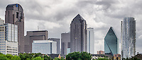 Dallas, Texas skyline as seen from Griggs Park on a cloudy day in the spring.