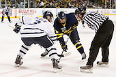 Austin Block (UNH - 3), Joe Cucci (Merrimack - 14), Chris Millea - The Merrimack College Warriors defeated the University of New Hampshire Wildcats 4-1 (EN) in their Hockey East Semi-Final on Friday, March 18, 2011, at TD Garden in Boston, Massachusetts.