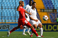Sebastian Lletget (right) battles for the ball. USA Men's Under 20 defeated Panama 2-0 at Estadio Mateo Flores in Guatemala City, Guatemala on April 2nd, 2011.
