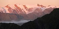 Sunset views of Maximilian Range, Westland Tai Poutini National Park, West Coast, World Heritage Area, South Westland, New Zealand