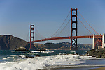 San Francisco: Baker Beach with Golden Gate Bridge in background.  Photo # 2-casanf83393.  Photo copyright Lee Foster
