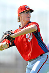 24 February 2012: Washington Nationals' pitcher Tyler Clippard warms up at the Carl Barger Baseball Complex in Viera, Florida. Mandatory Credit: Ed Wolfstein Photo