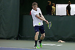 13 March 2016: Notre Dame's Daniel Rayl. The Wake Forest University Demon Deacons hosted the University of Notre Dame Fighting Irish at the Wake Forest Indoor Tennis Center in Winston-Salem, North Carolina in a 2015-16 NCAA Division I Men's Tennis match. Wake Forest won the match 7-0.