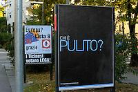 """Lugano.Elezioni federali 2011.""""Il coraggio di pensare Svizzero"""".Campagna politica di Emanuele Verda."""