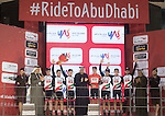 UAE Abu Dhabi take the Team Classification at the end of Stage 4 Yas Island Stage of the 2017 Abu Dhabi Tour, 143km with 26 laps of 5.5km of the Yas Marina Circuit, Abu Dhabi. 26th February 2017.<br /> Picture: ANSA/Claudio Peri | Newsfile<br /> <br /> <br /> All photos usage must carry mandatory copyright credit (&copy; Newsfile | ANSA)