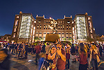 Florida State fans take selfies with Seminole Unconquered  statue outside Doak S. Campbell stadium prior to the start of an NCAA college football game against the University of Florida in Tallahassee, Fla., Saturday, Oct. 29, 2016. (AP Photo/Mark Wallheiser)
