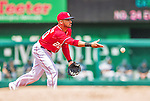 22 June 2014: Washington Nationals shortstop Ian Desmond in action against the Atlanta Braves at Nationals Park in Washington, DC. The Nationals defeated the Braves 4-1 to split their 4-game series and take sole possession of first place in the NL East. Mandatory Credit: Ed Wolfstein Photo *** RAW (NEF) Image File Available ***