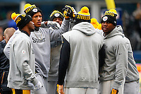 Ryan Shazier #50 of the Pittsburgh Steelers and his teammates warm up prior to the game against the Seattle Seahawks at CenturyLink Field on November 29, 2015 in Seattle, Washington. (Photo by Jared Wickerham/DKPittsburghSports)