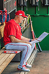 7 October 2016: Washington Nationals Pitching Coach Mike Maddux reviews his notes prior to the first game of the NLDS against the Los Angeles Dodgers at Nationals Park in Washington, DC. The Dodgers edged out the Nationals 4-3 to take the opening game of their best-of-five series. Mandatory Credit: Ed Wolfstein Photo *** RAW (NEF) Image File Available ***