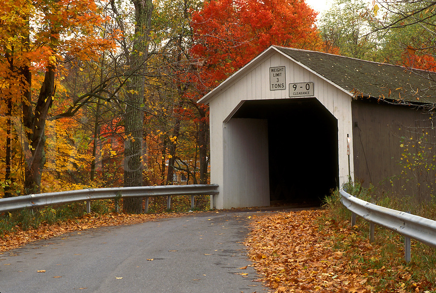 covered bridge, New York, Eagleville, A white painted covered bridge in the fall surrounded by colorful trees.