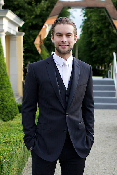 Chase Crawford wearing Dolce and Gabbana at Elton John's White Tie and Tiara Ball