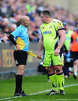 Eifion Lewis-Roberts of Sale Sharks speaks to an assistant referee during a break in play. Aviva Premiership match, between Bath Rugby and Sale Sharks on April 23, 2016 at the Recreation Ground in Bath, England. Photo by: Patrick Khachfe / Onside Images