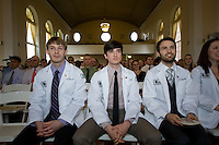 White Coat Ceremony, class of 2015. From left, Patrick Benson, Logan Bartram, Kristopher Azevedo.