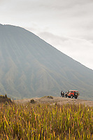Toyota Land cruiser, foot of Mount Bromo, Mount Bromo Crater, Mt Bromo, Tengger massif, East Java, Indonesia, Southeast Asia