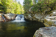 Dry River Falls in the White Mountains, New Hampshire USA during the summer months. Dry River Falls is located along the Dry River Trail.
