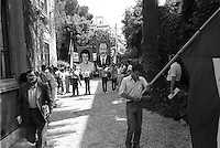 ROME, ITALY - JULY 17: The day of the funerals of Hussein Kamal and Nazyh Mattar, Palestinian leaders Palestine Liberation Organization (PLO), killed in Rome two car bombs. The day of the funeral with the funeral procession began with the photos of the two slain Palestinians on July 17,1982 in Rome, Italy.