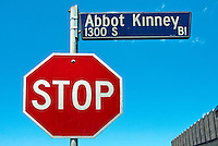 Stop Sign, Red, White Letters, Abbot Kinney, Blvd, Venice CA