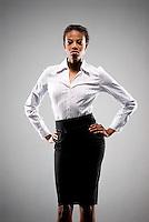 Portrait of stern looking African American woman