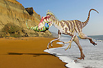 Photoshop Montage of Eotryannus dinosaur on Chale Beach Isle of Wight England, an area where fossils of this species have been found.